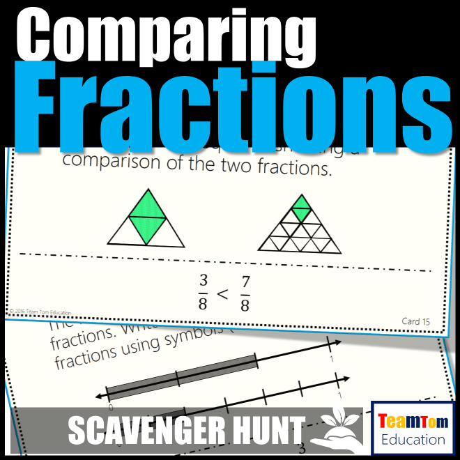 Comparing Fractions scavenger hunt is an engaging teaching resource that makes task cards fun!