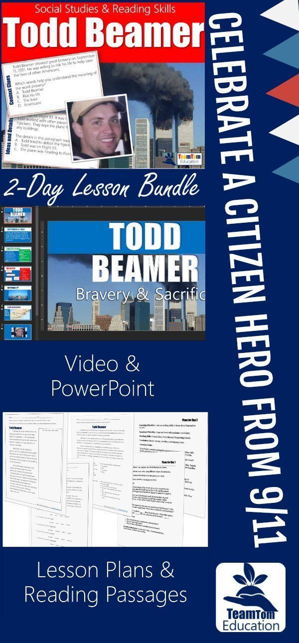 Video, Task Cards, and more to celebrate the heroism of Todd Beamer!