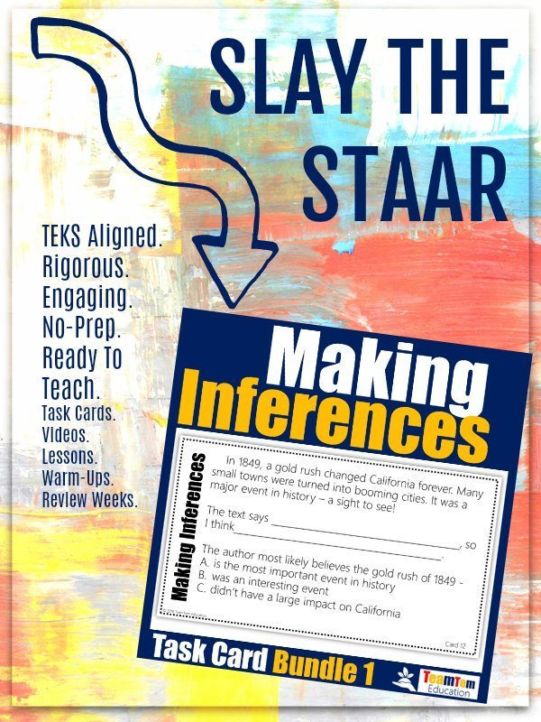 Slay the STAAR with Making Inferences Task Card Bundle Set 1