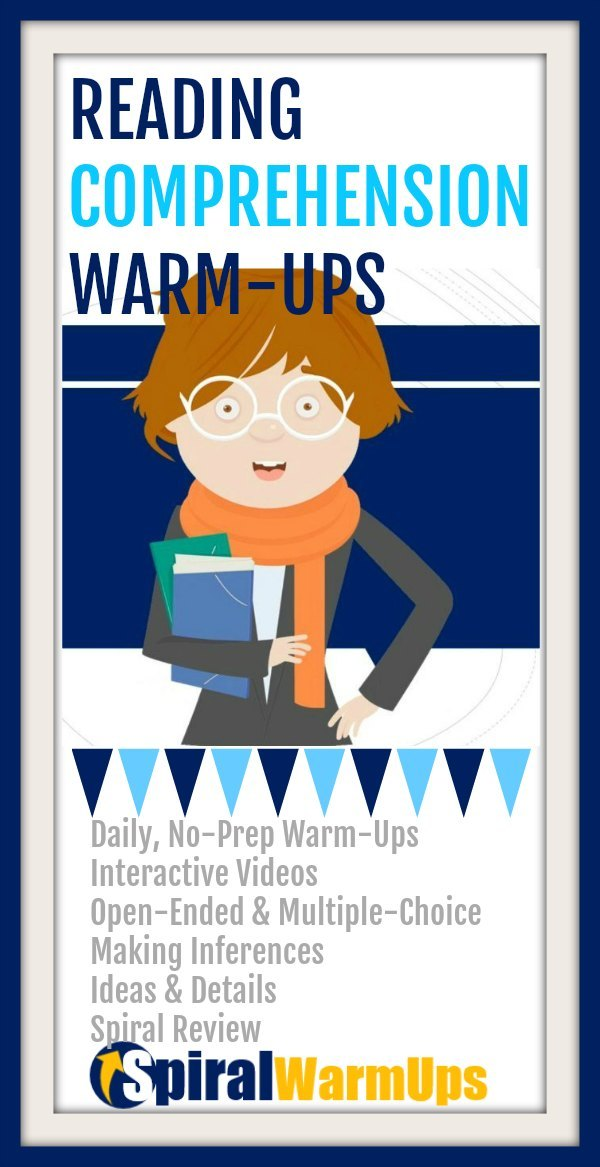 Boost reading levels easily with reading comprehension warm-ups that embed daily spiral review of the most critical reading skills: word study, fluency, main ideas and details, and making inferences. Learn how these no-prep warm-ups will help!