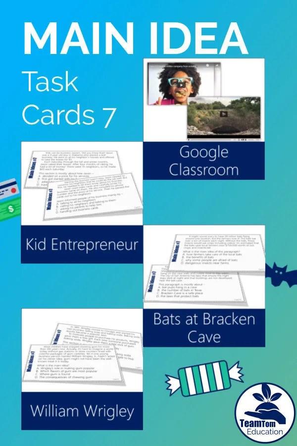 Main Idea Task Cards 7 focus on informational texts - kid entrepreneurs, Wrigley's Gum, and bats at Bracken Cave.