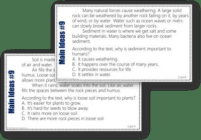 Soil, Weathering, and Decomposition - Main Idea Task Card Bundle 3