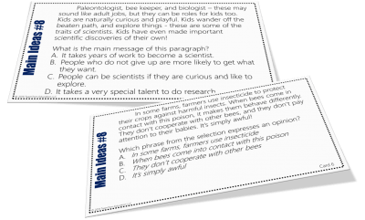 Fiction, Informational, and Biographical Texts - These main idea task cards are perfect for 3rd, 4th, and 5th-graders! Main Idea Task Card Bundle 3