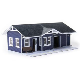 train depot blue paper model building railroad