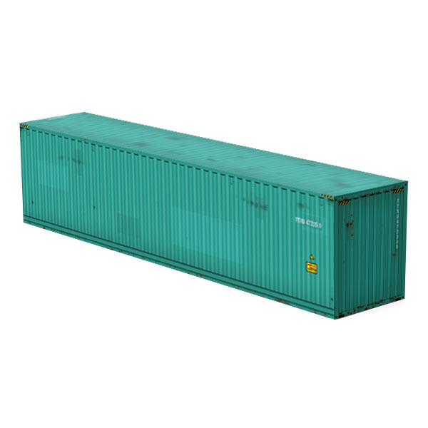 intermodal container unbranded teal color paper model kit