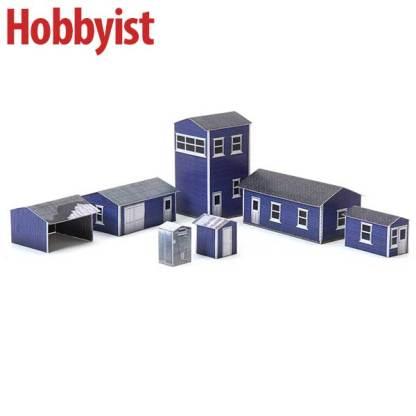 Yard buildings paper model kit blue lapboard