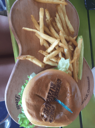 """My Cheeseburger in Paradise served on a """"guitar""""!"""