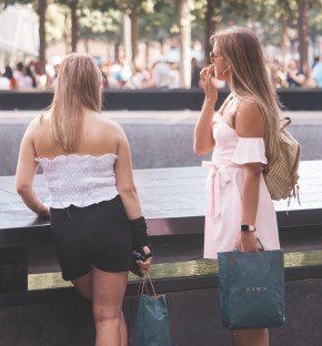 Taylor and friend at the WTC Memorial