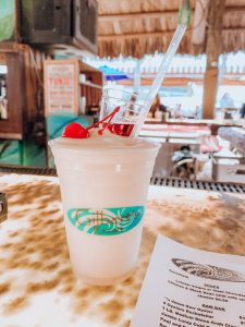 A pina colada with a Meyers Rum floater at Gilbert's Resort in Key Largo