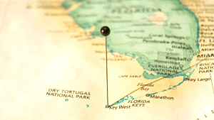 map of south florida with a pin through key west