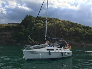 Anchored boat in Devon