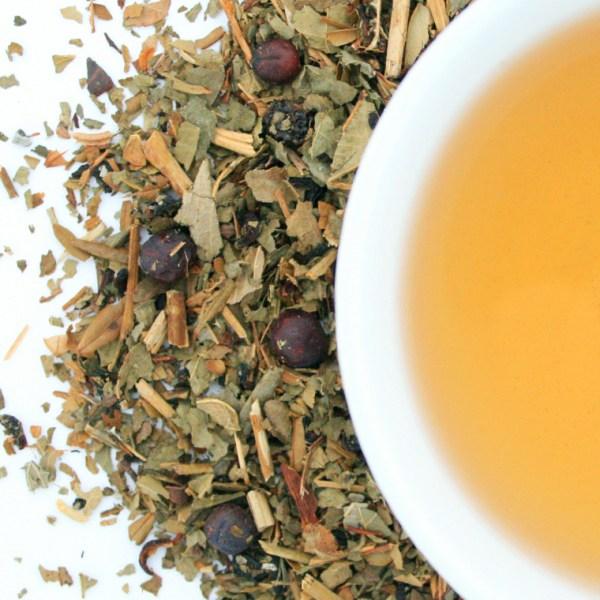 Garden Berry Medley Herbal Blend brewed tea