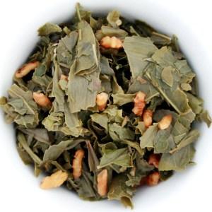Genmaicha loose leaf green tea wet leaf