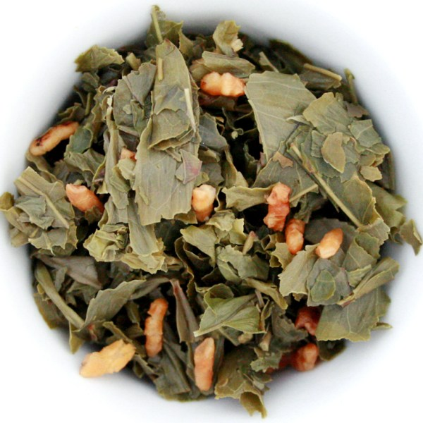 Genmaicha loose leaf green tea wet leaf
