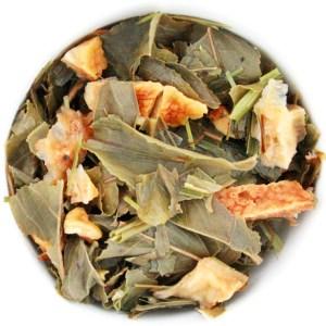 Ginger Lemon loose leaf green tea wet leaf