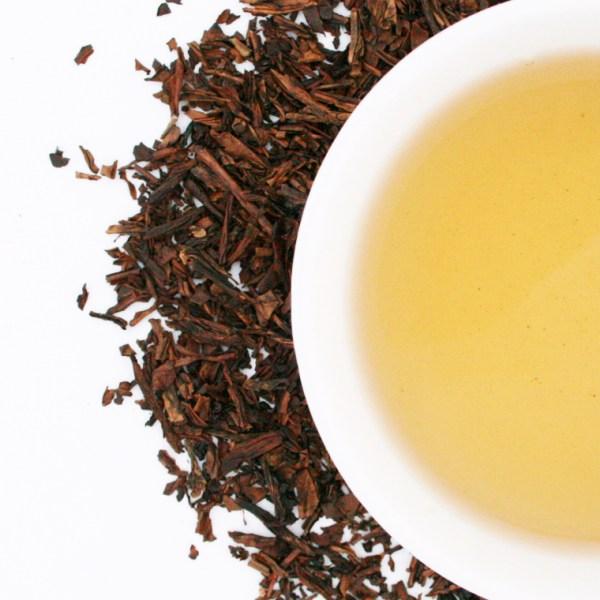 Hojicha Loose Leaf Roasted Green Tea brewed tea