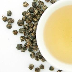 Jasmine Pearls Loose Leaf Green Tea brewed tea
