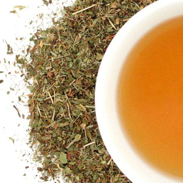 Lemon Mint Herbal Blend brewed tea