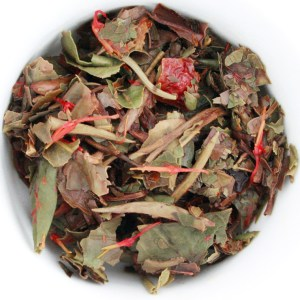 Pomegranate White Loose Leaf Tea wet leaf