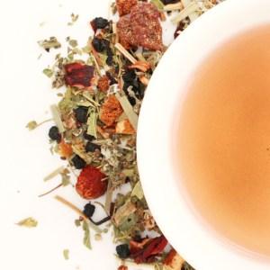 Raspberry Rush Herbal Blend brewed tea