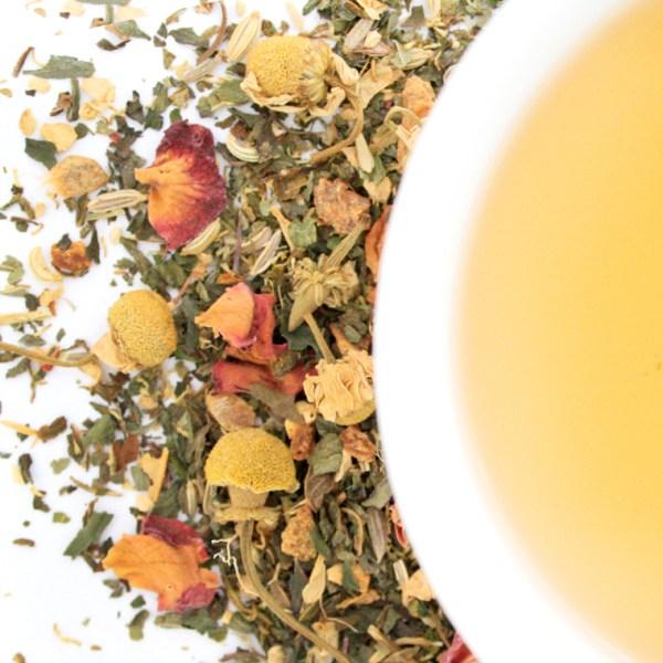 Sweet Symphony Herbal Blend brewed tea