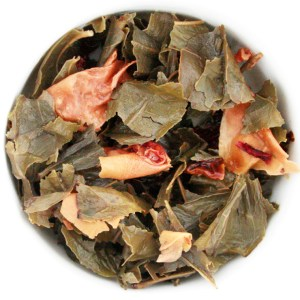 Wild Cherry Loose Leaf Green Tea wet leaf