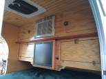 Foot-bed area of our home-built, custom teardrop trailer.