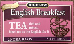 Picture of the top of a 1.5 ounce box of Bigelow English Breakfast Tea.