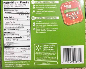 Picture of the Nutrition label and brewing instructions on a box of Great Value Decaf Black Tea, 48-Count, Bottom View.