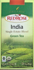 Picture of a 20-count box of Red Rose India Single Estate Blend Green Tea, front view.
