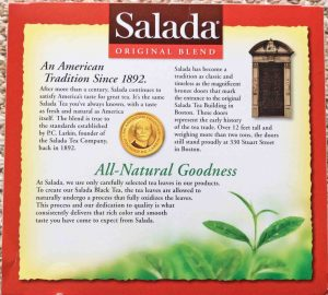 Bottom view picture of an 8-ounce box of Salada Original Blend Black Tea.