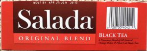 Picture of the UPC symbol side of a 100-count box of Salada All Natural Black Tea.