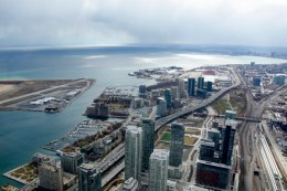Aerial view of Toronto seen from the CN Tower, Ontario, Toronto, Canada