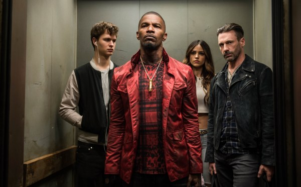 (l to r) Baby (ANSEL ELGORT), Bats (JAMIE FOXX), Darling (EIZA GONZALEZ) and Buddy (JON HAMM) decide on doing the heist in TriStar Pictures' BABY DRIVER.