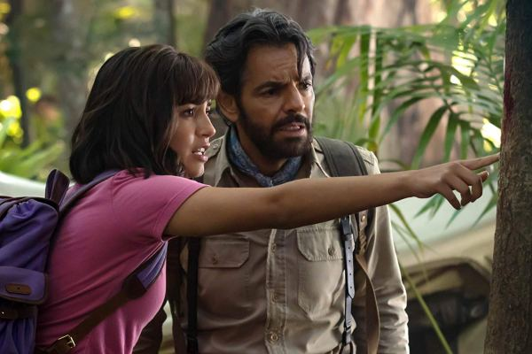 Eugenio Derbez and Isabela Moner in Dora And The Lost City Of Gold