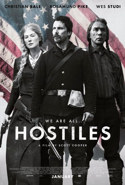 Hostiles New Poster - From left to right: Rosamund Pike, Christian Bale, and Wes Study