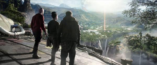 Iron Sky 2 The Coming Race - Malcolm (Kit Dale), Obi (Lara Rossi) and Sasha (Vladimir Burlakov) checking the sights at the Hollow Earth.