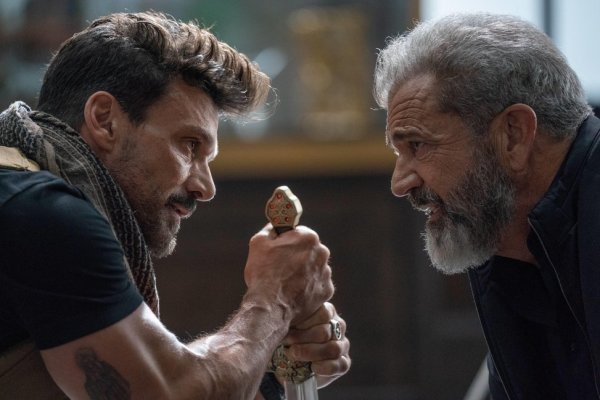 Mel Gibson and Frank Grillo in the movie Boss Level