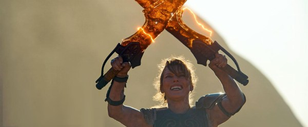 Monster Hunter - Milla Jovovich and Giant Flaming Blades