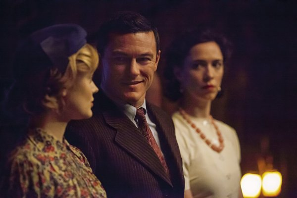 Rebecca Hall, Luke Evans, And Bella Heathcote in the movie Professor Marston And The Wonder