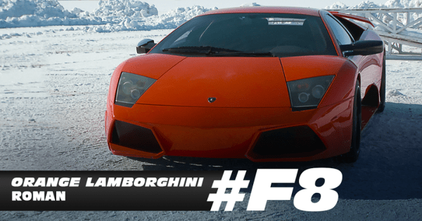 Roman's orange Lamborghini - Fast 8 movie