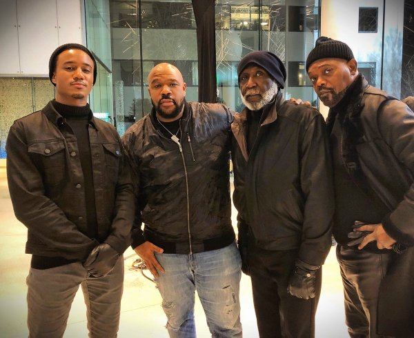 Jessie T. Usher, Isaac Hayes III, Richard Roundtree, and Samuel L. Jackson in Son Of Shaft (2019)