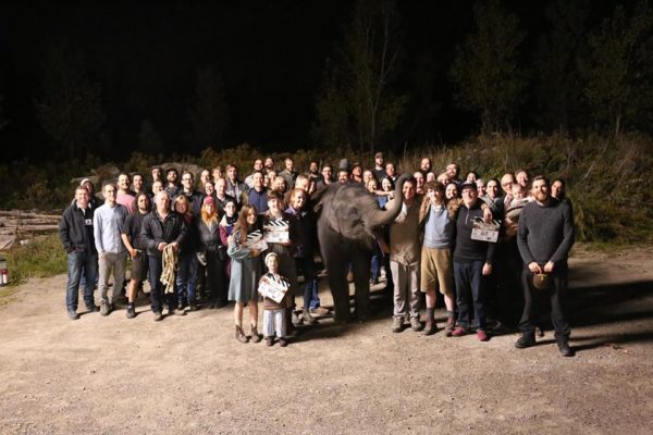 Zoo Movie -Elephant and Film crew and cast