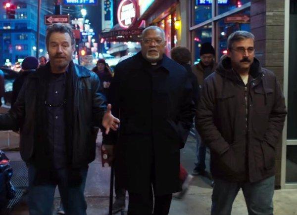 Steve Carell, Bryan Cranston, and Laurence Fishburne - Last Flag Flying movie
