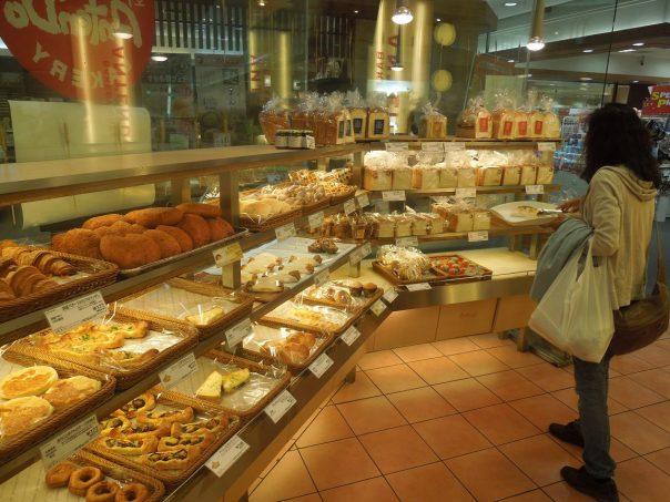 Mrs. Koseki picking up breakfast at the bakery
