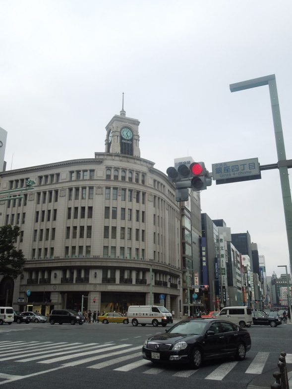 Checking out Ginza's famous clock tower