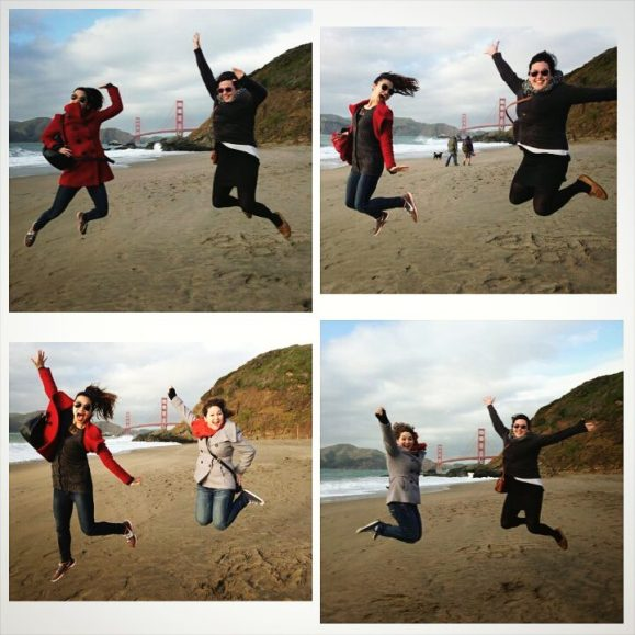 """JUMP! Our classic """"jumping shot"""" from Europe made it to the Golden Gate Bridge."""