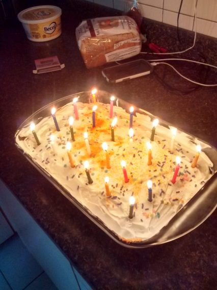 Jello Cake with exactly 24 candles!
