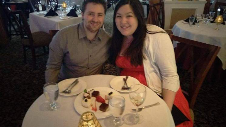 Enjoying our dessert