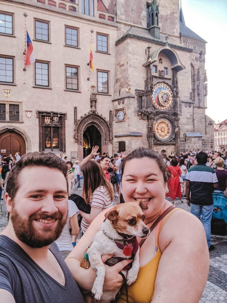 Prague Astronomical Clock with a dog
